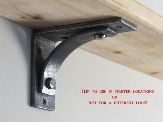"""Shelf Brackets and Corbels   4"""" Station Grandé    Hand Forged Wrought Iron Mantle Corbel   2"""" wide Metal Brackets   Floating Shelf Brackets"""