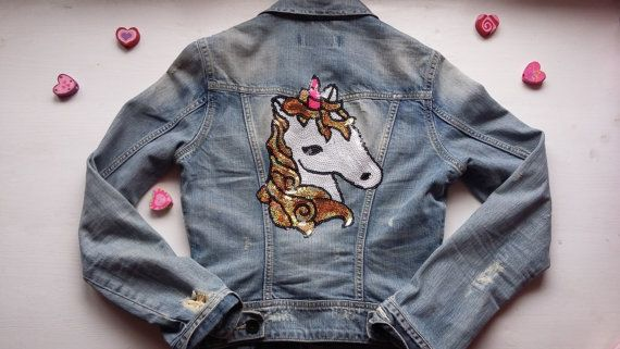 Patch Denim Jacket / Upcycled Woman Denim Jacket / Unicorn Patched Jacket / Cute Unicorn Coat Gift For Girls / Patched 90s Jacket