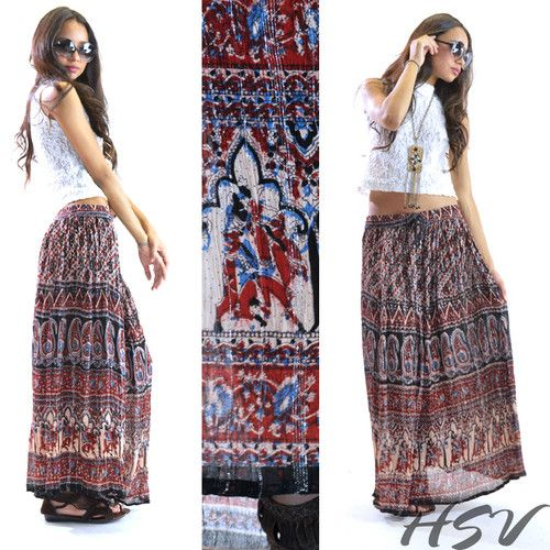 VTG 70s INDIA Gauze Hippie Boho Gypsy Paisley Metallic Festival Dress Maxi Skirt | eBay