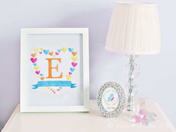 ♥ Personalised Heart Name Art Print ♥ Unframed Custom Initial and Name Artwork by Sweet Cheeks Images. $12.00 AUD
