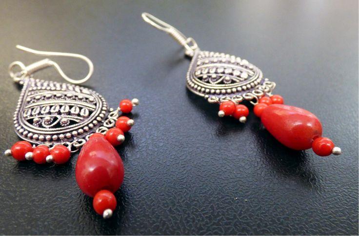 Red ear rings -  www.alongthebridalpath.com.au