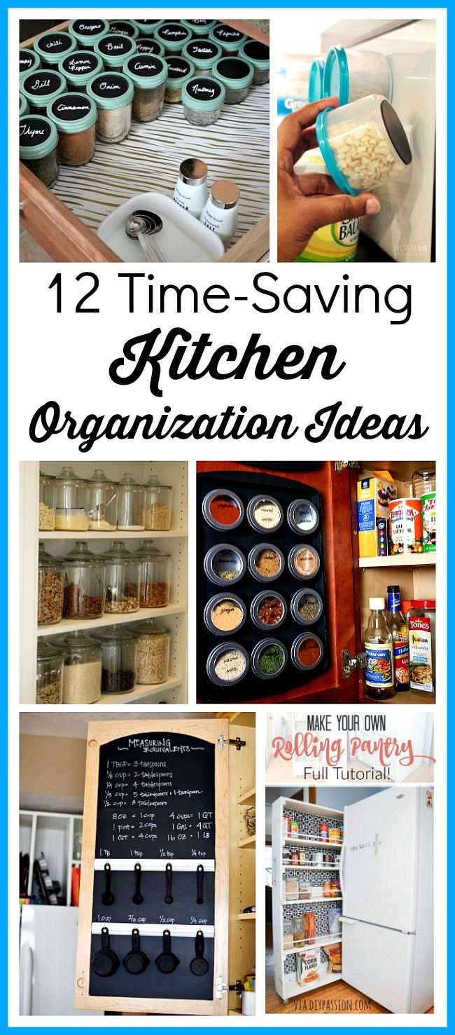 12 Time-Saving Kitchen Organization Ideas- Spending a few minutes organizing your kitchen now can save you hours when its time to cook! For inspiration, check out these kitchen organization ideas! | kitchen organizing, how to organize your kitchen, pantry, spice drawer, fridge, refrigerator, spice cabinet
