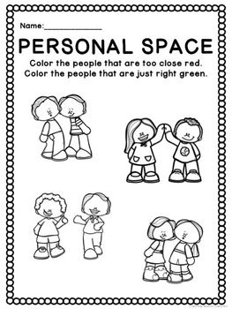 Personal Space Activities (worksheets, visuals + social