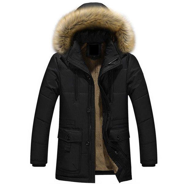 Doudoune Homme Capuche Fourrure Luxury Outwear noir