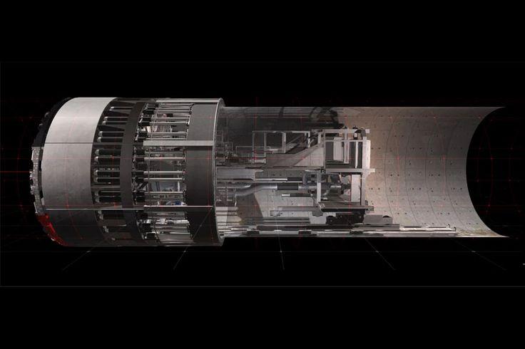 """Der virtuelle Tunnelbohrer dient zur Aus- und Weiterbildung von Mitarbeitern, damit diese die maschinelle Tunnelvortriebstechnik kennenlernen, bevor sie neue Infrakstrukturen unter """"echter Erde"""" bohren. Im Vordergrund der Umsetzung des 13 Meter hohen Bohrers lag die detailgetreue Nachbildung der technischen Abläufe."""