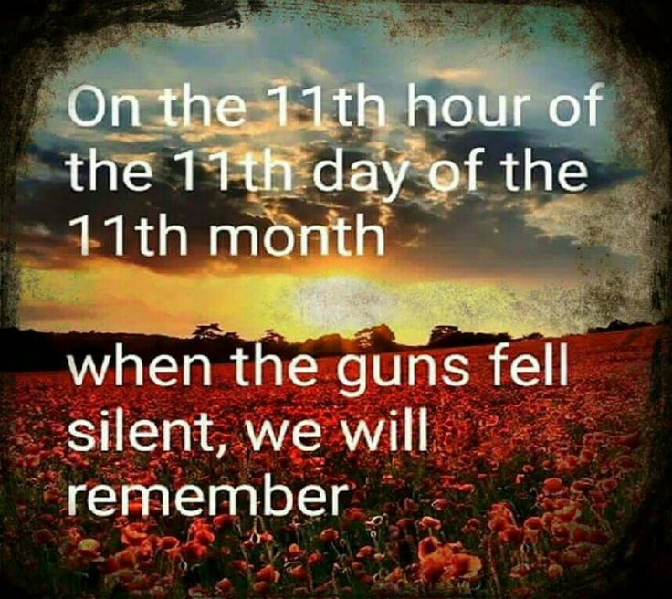 On the 11th hour of the 11th day of the 11th month when the guns fell silent, we will Remember!