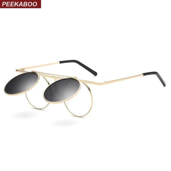 #DealOfTheDay #FASHION #NEW Peekaboo round flip up sunglasses steampunk men women unisex gold metal frame vintage round sun glasses for men…