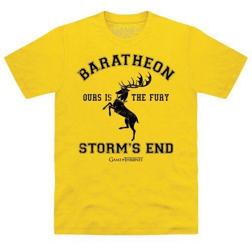 Official Game of Thrones - House Baratheon Organic Camiseta, Para hombre, Amarillo brasileño, 2XL #camiseta #friki #moda #regalo