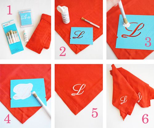 DIY monogram napkins.  We gathered up supplies at our local Michael's craft store: paint, stenciling flat brushes and script letter stencils from Martha Stewart's new craft collection.  We also found cotton, tangerine orange napkins at Home GoodsParties Dresses, Diy Monograms, Savory Recipe, Letters Stencils, Crafts Stores, New Crafts, Hostess Gift, Michael Crafts, Clothing Napkins