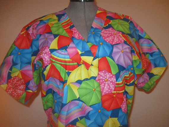 COLORFUL umbrella print scrub top size large by sewiing on Etsy, $18.00