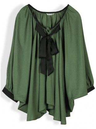 green batwing sleeve round neck chiffon coat