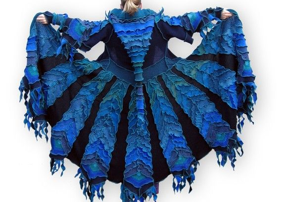 I would LOVE something like this ! Coat made from recycled fabrics ! The Enchanted Peacock by greenoakcreations.etsy.com
