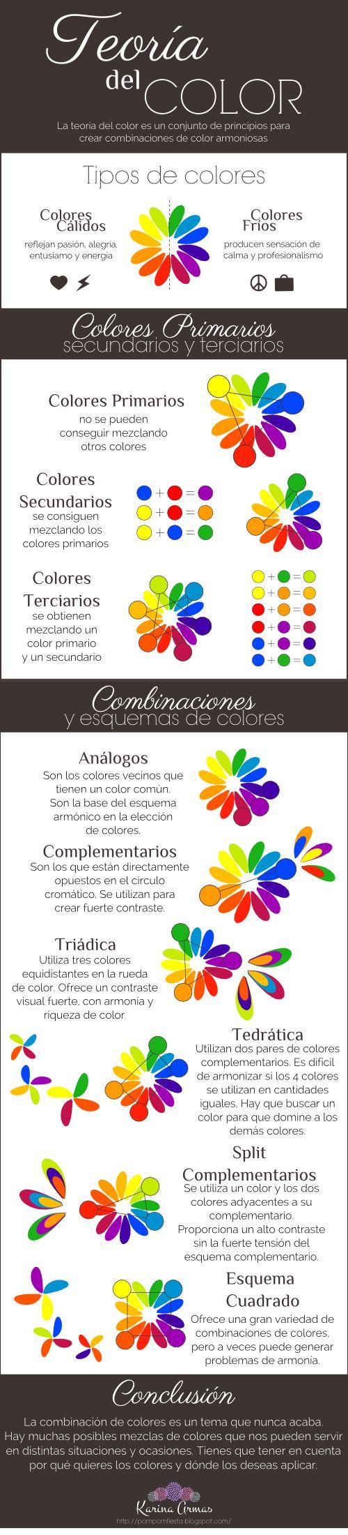 Aprende más sobre cómo combinar los colores con esta infografía de Teoría del colore http://pompomfiesta.blogspot.com/2014/08/teoria-del-color.html