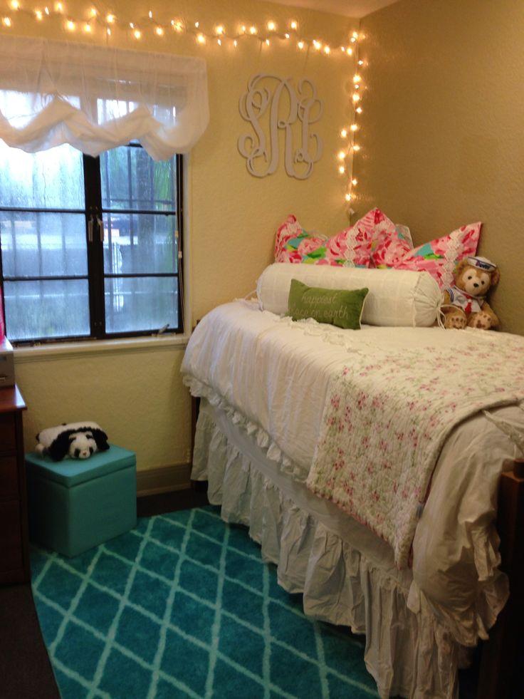 Dorm decor  Things I Love  Pinterest  Dust ruffle  ~ 123645_Dorm Room Curtain Ideas