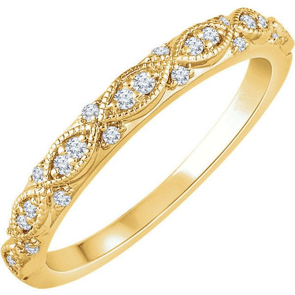 Infinity-Inspired 14K Rose/Yellow/White Gold 1/8 CTW Diamond Milgrain... (10.185 ARS) ❤ liked on Polyvore featuring jewelry, rings, rose diamond ring, white gold rings, infinity band ring, white gold wedding rings and white gold infinity ring