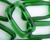 One Dozen Recycled Mini Jagermeister Bottle Glass Beads (natural glass)