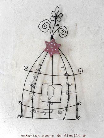Création #coeurdeficelle / #cage à oiseaux en fil de fer / #Déco / #Fildefer
