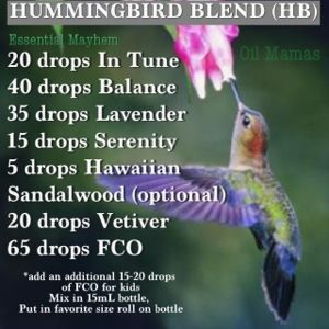 ** this dilution is way too high. Use the eo's minus the fco as a master blend and then use drops from master to dilute accordingly. Hummingbird Blend, good for boys.