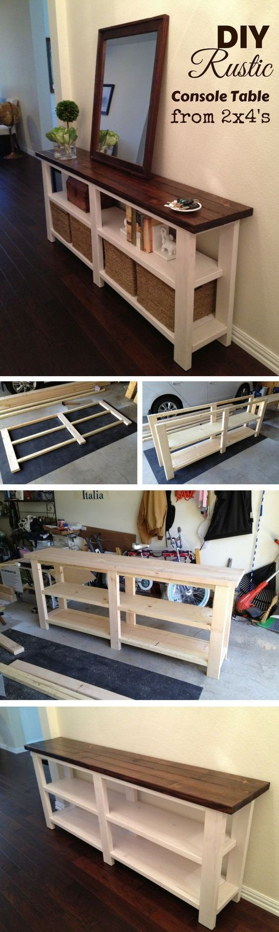 Check out how to make a DIY wooden rustic console table from 2x4s #buildingfurniture