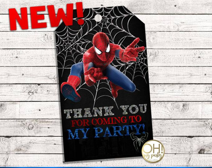 Spiderman THANK YOU TAGS, spiderman party, spiderman birthday, spiderman party supplies,spiderman instant download ,spiderman tags,spiderman