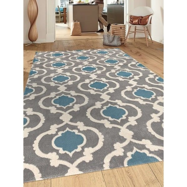 Moroccan Trellis Contemporary Grey Blue Indoor Area Rug 7 10 X 2 310 Gryblu 8x10 Size 8 Polypropylene Geometric