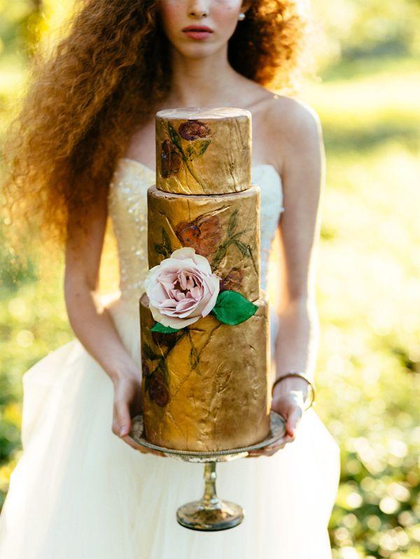 pastel para boda dorado, gold wedding cake
