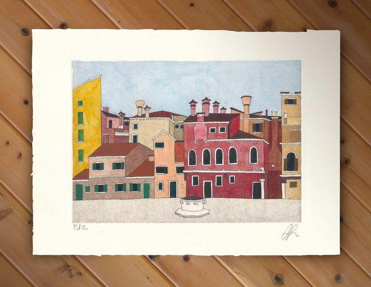 Campo della Maddalena (Etching + Watercolor) #watercolor #art #etching #print #printmaking #Venezia #Venice
