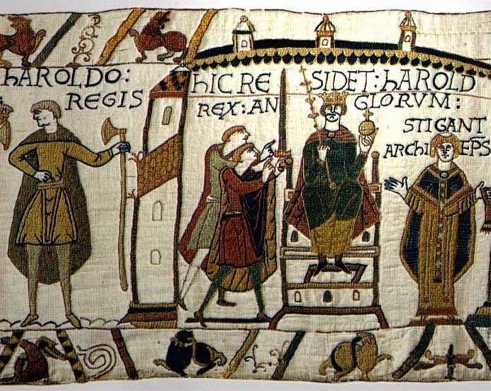 The Bayeux Tapestry was created a decade after the events depicted in #SnowinJuly by Kim Headlee, so it's never mentioned in the novel. This scene shows Harold Godwinson on his throne, prior to the Norman invasion. Though clearly an object of Norman propaganda, the designer (who probably was William the Conqueror's younger half brother, Odo de Bayeux) was careful to show Harold with the utmost respect.