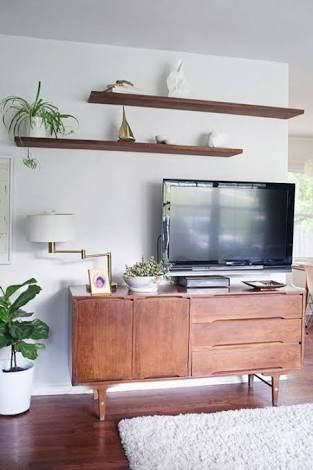 Image result for mid century floating shelves au above tv