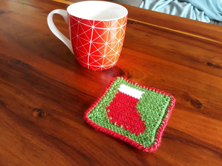 Christmas Stocking Coaster – Crochet Creations