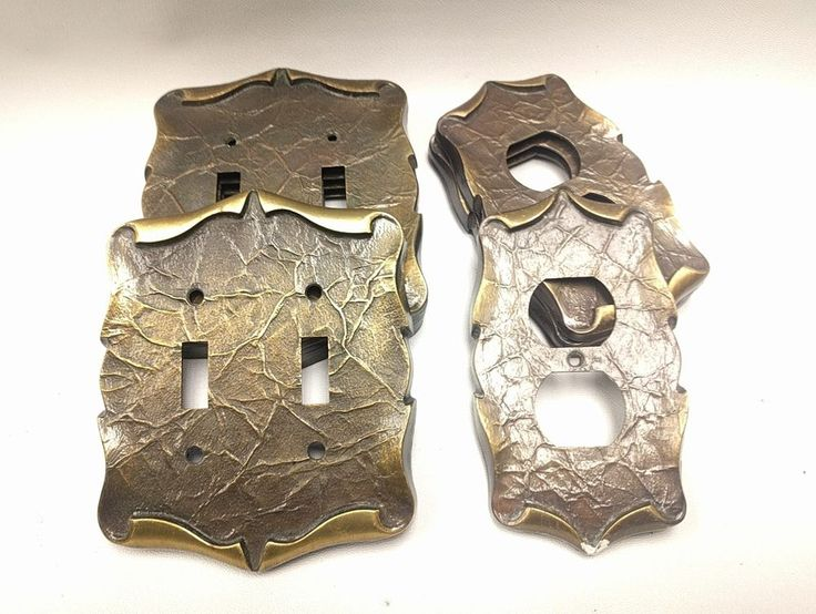 VINTAGE SA BRASS TONED TEXTURED 3D 2 LIGHT SWITCH COVER & OUTLET PLATE LOT of 9  | Home & Garden, Home Improvement, Electrical & Solar | eBay!