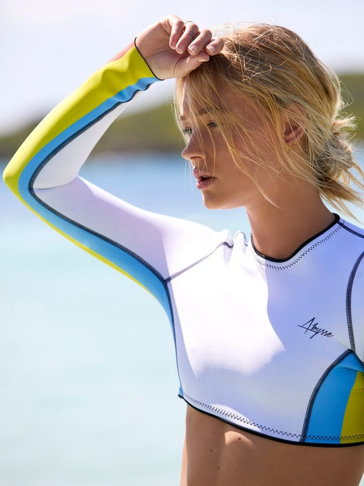 Bird Long Sleeve Rash Guard | Perfect for surfing and other water activities this Japanese neoprene rash guard features retro-inspired colorful stripe detailing. Made in California.