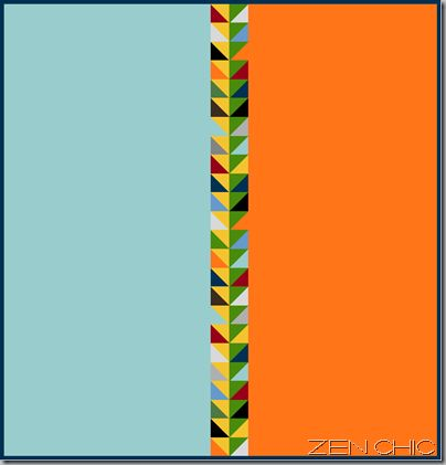 Modern quilt pattern. Very effective use of half square triangles. This would be great for a quilt back.