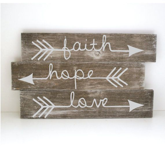 """Faith Hope Love Arrow Sign - 18"""" x 11"""", Whitewashed wood sign, Reclaimed Wood, DIY, Painted Wood Sign, Stained Wood, Craft Supplies"""