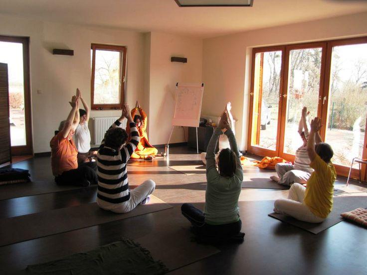 Morning yoga class in an ayurveda-yoga retreat.