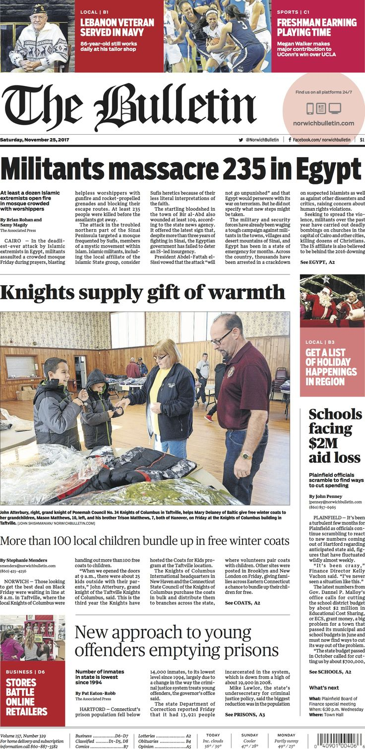 Saturday, November 25, 2017 - Subscribe to The Bulletin today: http://www.norwichbulletin.com #ctnews #newlondoncounty #windhamcounty