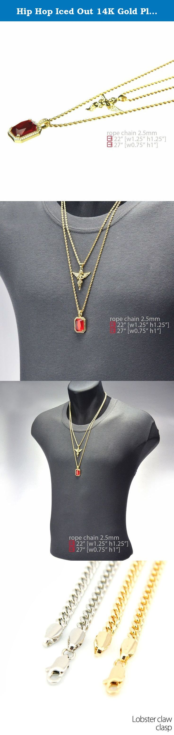 """Hip Hop Iced Out 14K Gold Plated Baby Angel & Red Ruby 22""""&27"""" Combo Pendant Chain MHC 213 G. Two Piece Pendant, Angel & Red Ruby. Chain Length : 22"""" & 27"""" Inches Long x 2.5mm Thin Rope Chain. You Will Receive Two Chains & Two Pendant As A Set (As Seen On Image). 14K IP Gold Plated. Great Quality Jewelry."""