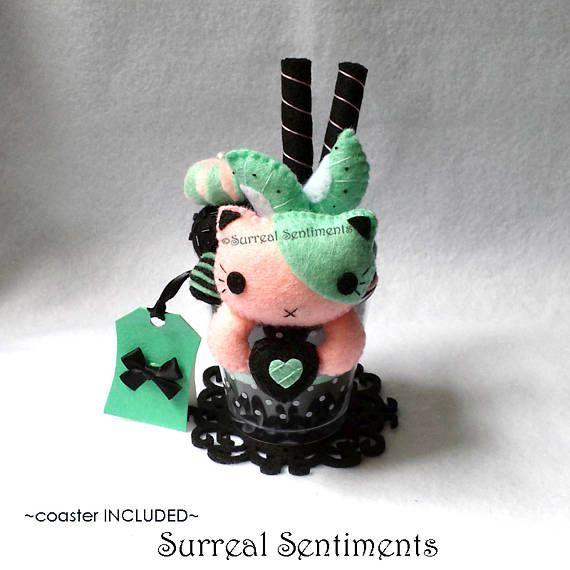 Kiwi Dust Cat Parfait. Surreal Gifts, Pastel Goth Plush, Kawaii Goth, Gothic Lolita, Tokyo Pop Cat Plush, Birthday Gift, Cat Lovers Gift