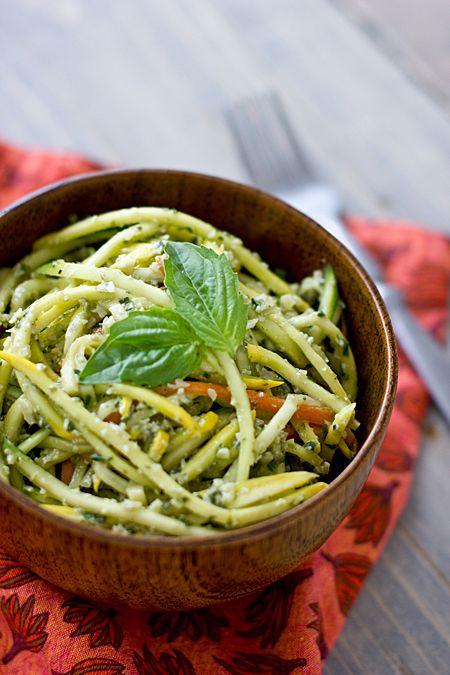 Raw pumpkin seed pesto // 1 c. pumpkin seeds, 1/2 c. olive oilm 2 garlic cloves, 1 tsp. apple cider vinegar, 1 tsp. raw honey, 1 c. fresh basil leaves, 1 tsp. sea salt
