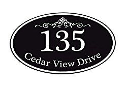 Customized Home Address Sign, Aluminum 12″ x 7″ Oval House Number Plaque, Personalized Color Choices Available (Black)
