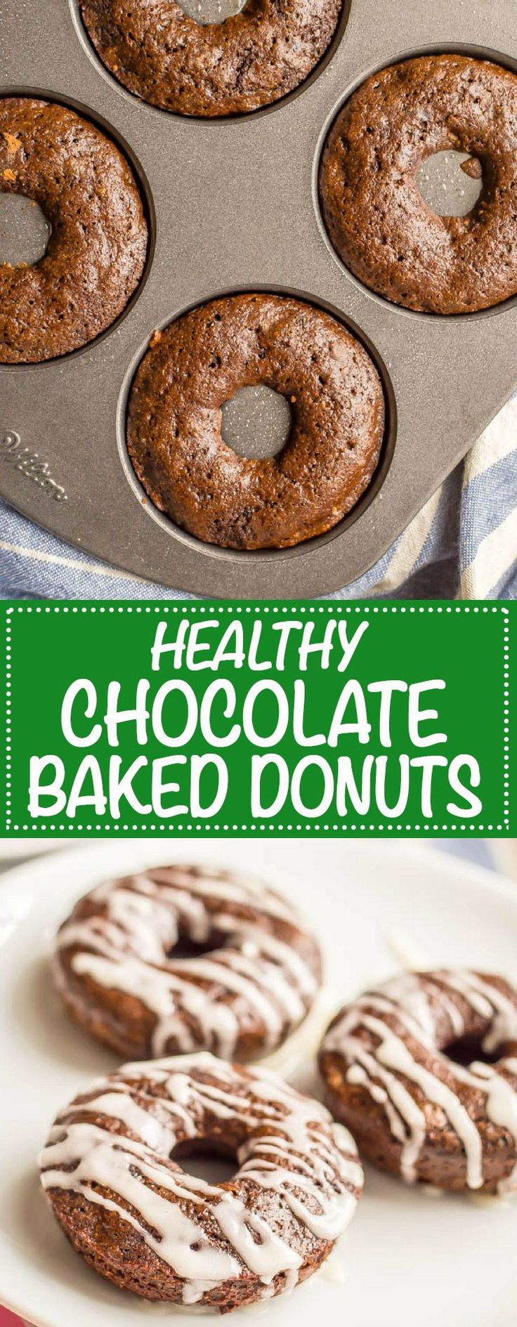 Whole wheat chocolate baked donuts have double the chocolate and none of the guilt! They come together quickly and make for a super fun healthy breakfast! Serve with an easy vanilla glaze, Nutella or a peanut butter frosting. #chocolatebreakfast #bakeddonuts #healthydonuts | www.familyfoodonthetable #HealthyChocolateRecipe