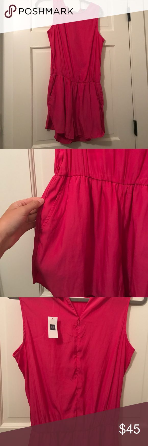 GAP pink women's romper Hot Pink women's zip up romper with pockets. NWT, light polyester fabric GAP Other
