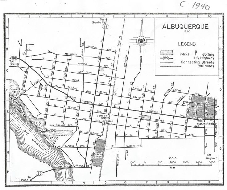 Map of Albuquerque, 1940