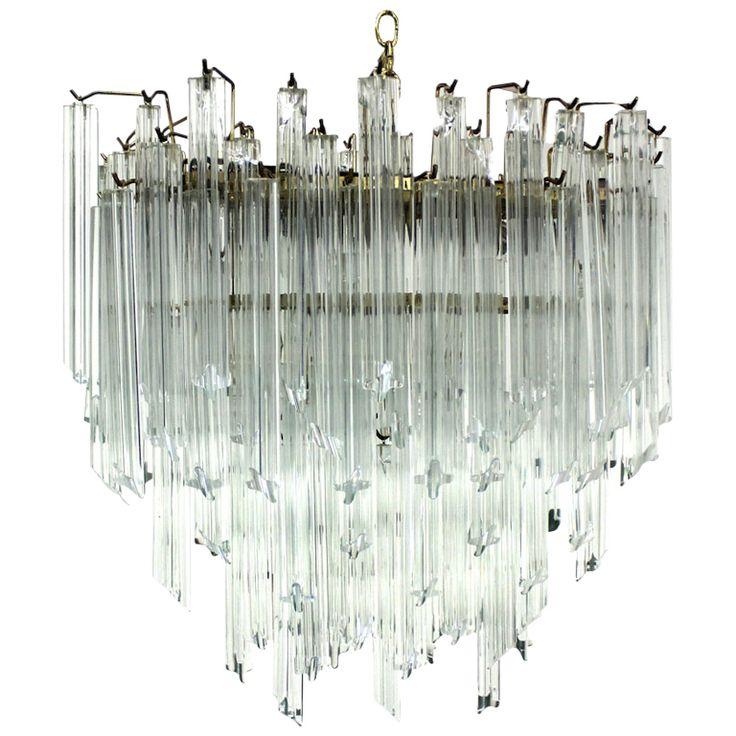 Camer Mid Century Modern Murano Chandelier Glass Prisms Light Fixture
