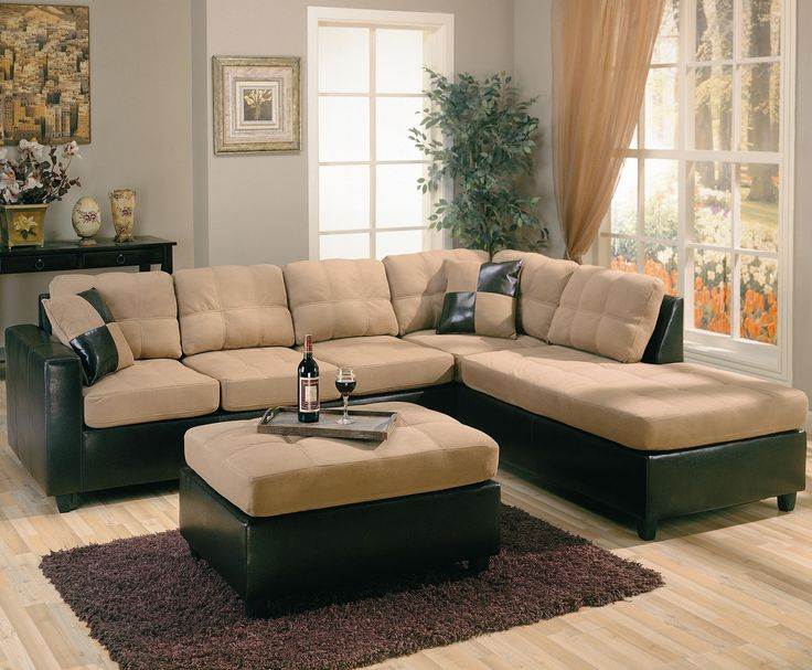 Harlow Sectional Sofa By Coaster Showing Off A Stylish Two Tone Look This Tan SectionalDiapersSectional Living Room