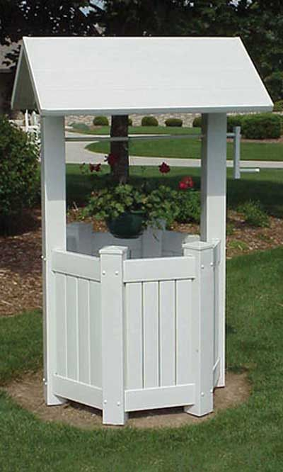 Dura-Trel Add an enchanting look to your garden with the Dura-Trel Wishing Well. A hexagonal base on this item rests in your garden, supporting a dramatic peaked roof. This shape evokes the charm of c