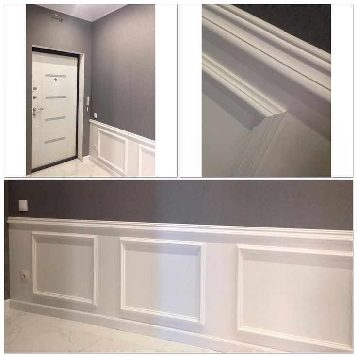 Фрагменты прихожей. Очень красивый и недорогой приём - имитация деревянных панелей для стен. Для этого нужны полиуретановые молдинги разной ширины и белая краска #всегениальноепросто #дизайнинтерьера #дизайнинтерьераИркутск #InteriorDesign by ann_ryazanova