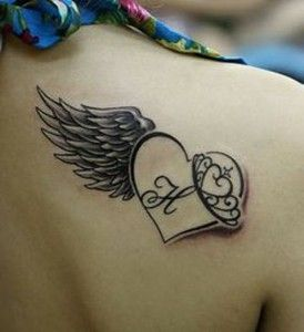 Feather Heart Tattoo Design for Women