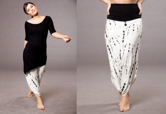 Harem Pants Long Harem Skirt Pant Drop Crotch Long by MichalRomem
