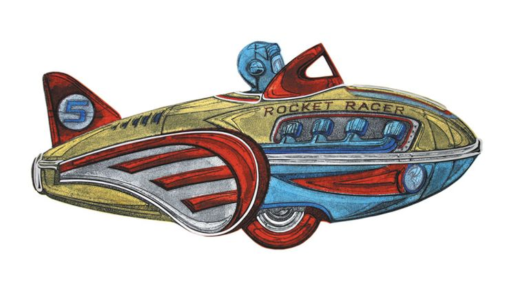 Barry Goodman | Rocket Racer | #art | #childhoodtoys | #transport | #print | £345